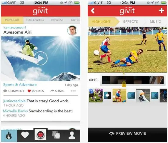 Givit Video Editor App Interface