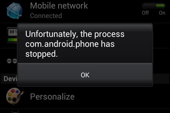 fix process com.android.phone