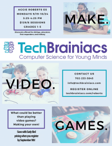Aggie Roberts TechBrainiacs Video Game Design Color After-School Flyer