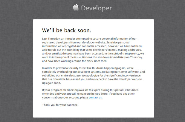Apple Dev Portal Hacked
