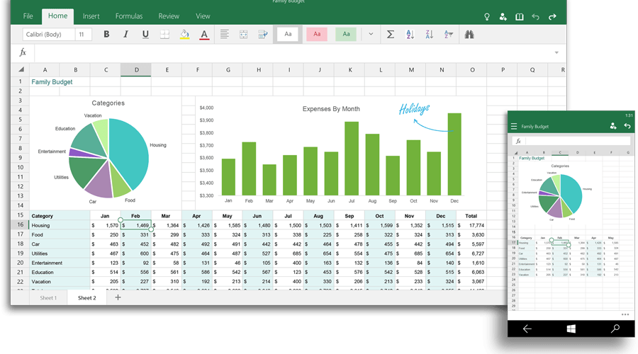 Excel for Windows 10