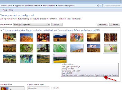 Find where Your Windows 7 Theme's Wallpapers were Photographed