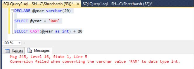 Convert data type of SQL Server variables in SQL Server - Tech Funda - sql convert