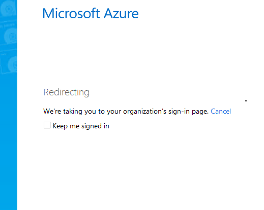 Microsoft Azure Home Realm Discovery step 2
