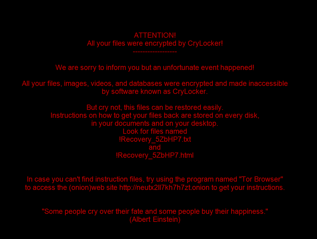 CryLocker screen (Source: http://www.bleepingcomputer.com/news/security/the-crylocker-ransomware-communicates-using-udp-and-stores-data-on-imgur-com/)