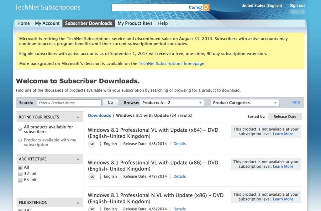 Microsoft TechNet\u2013 Download  License Keys Reminder