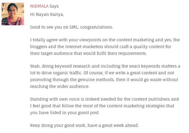 Nirmala's Comment