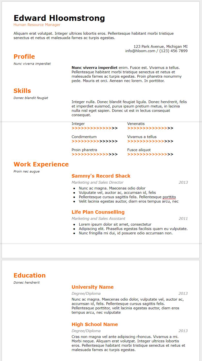 best cv template google docs