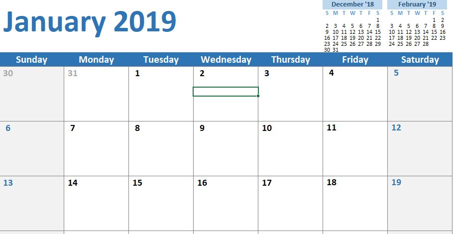 10+ Excel calendar templates 2019 - Monthly Printable Excel Template