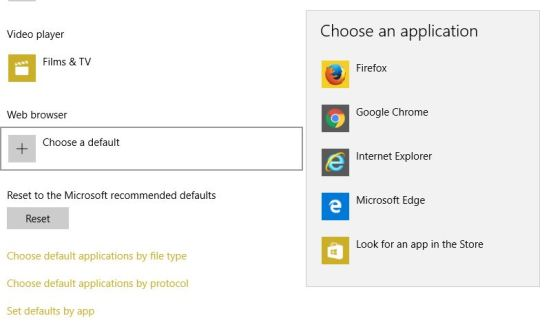 Choose default browser in Windows 10 from settings