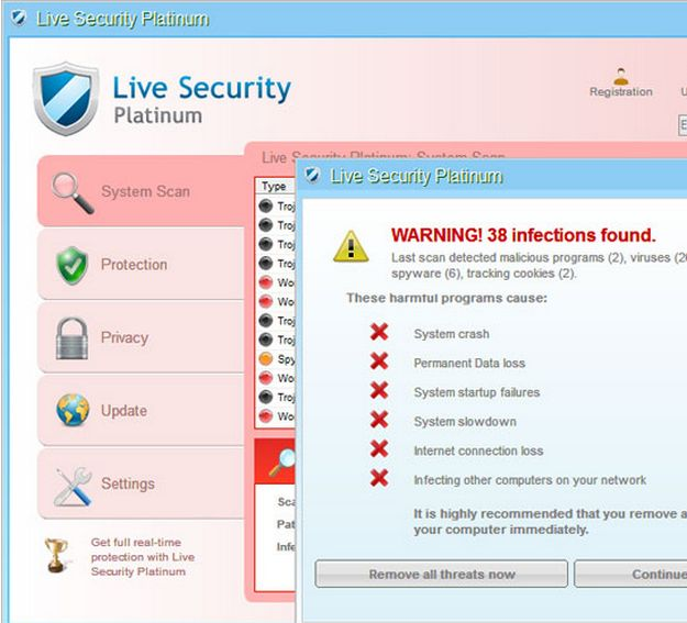 live security platinum malware