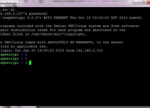 putty SSH rasperry pi login Rasperry pi Remote Via SSH