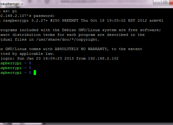 putty-SSH-rasperry-pi-login