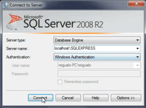 restore sqlexpress database i visual studio
