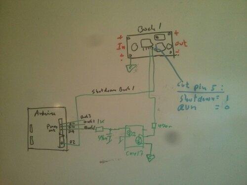 diagrammet viser hvordan en lille buck konverter kan bruges som powersupply med arduino