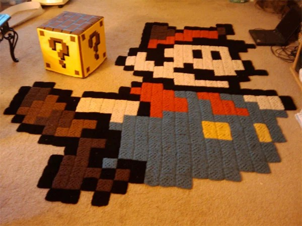 Gaming Teppich Mario Rug And Question Mark Block Ottoman: The Perfect