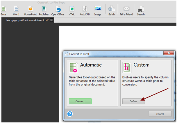 Conversion from PDF to Excel Format