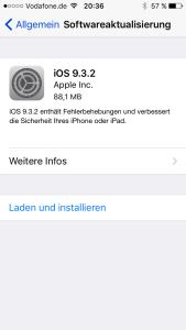 Apple stellt über die Software-Aktualisierung das Update von iOS 9.3.2 bereit