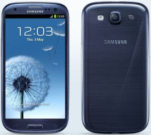 The Galaxy S3 front and back view
