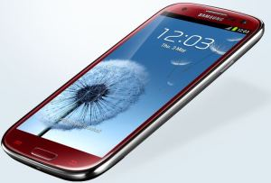 The Galaxy S3 viewed slightly from the side