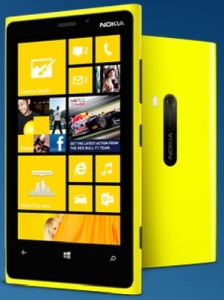 Front look at a yellow Lumia 920