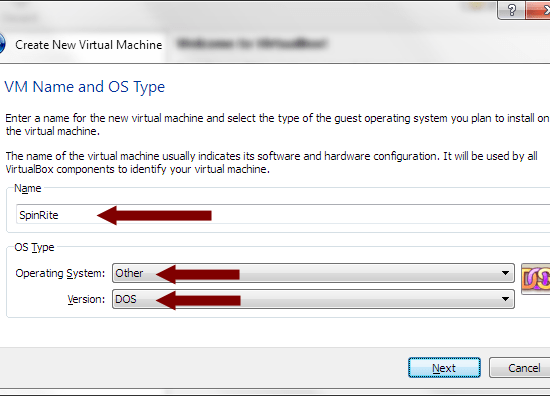 VirtualBox - VM Name and OS Type