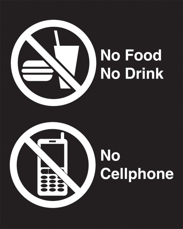 No Food No Cell phone Sign - Black Techno-Aide