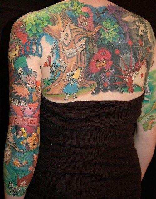 Alice in Wonderland in one tattoo