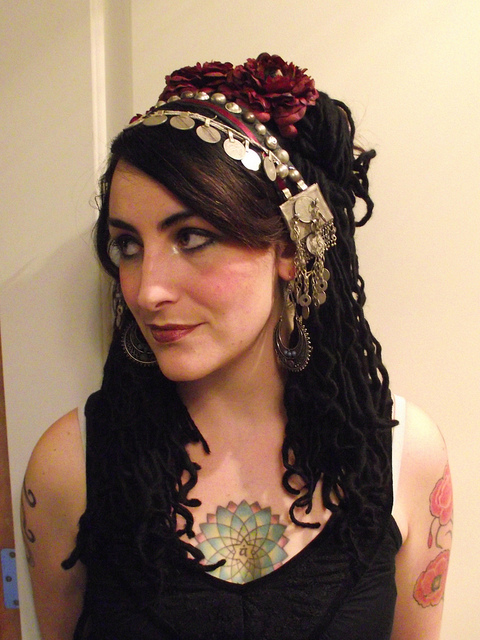 Jillian modeling tribal fusion head piece