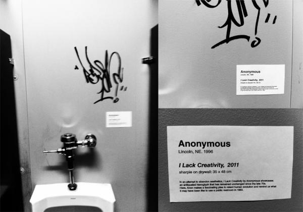 """I Lack Creativity,"" sharpie on drywall, by Anonymous"