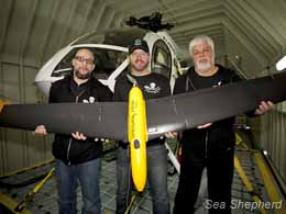 Sea Shepherd members with their surveillance drone
