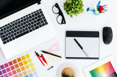 43675002 - professional creative graphic designer desk
