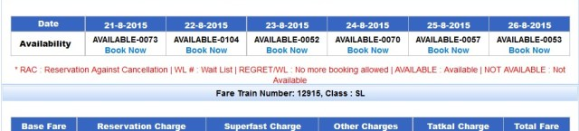 irctc train seat availablity between two station