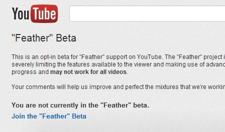 youtube feather beta for low speed connections