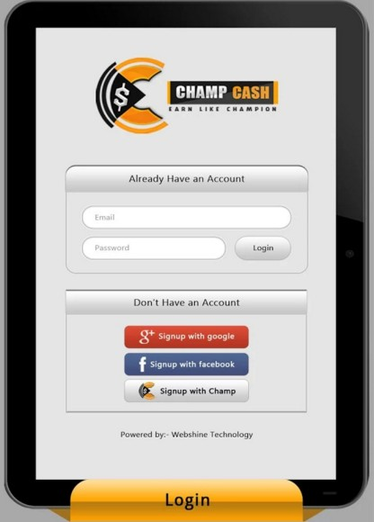 Click on Champcash App. & Open it