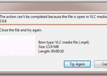 File in use - Action Cannot be completed