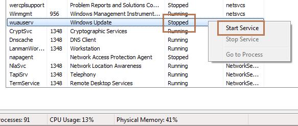 svchost Windows Update service stopped