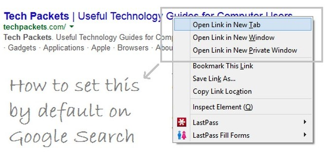 Google Search - Default Opening New Tab
