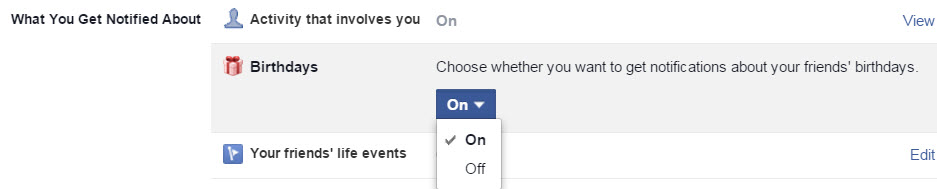 how to change notification settings on facebook