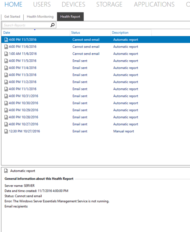 Server Essentials Unable to Email Health Report