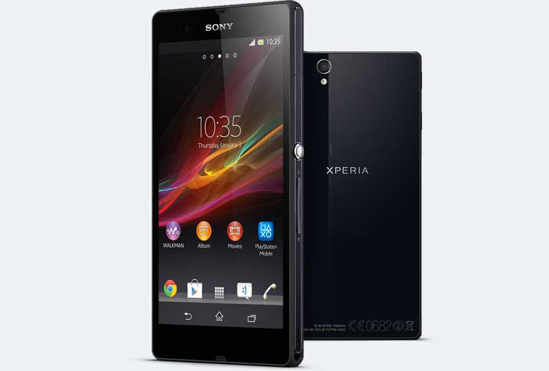 Sony Xperia Z smartphone, black, front and back view