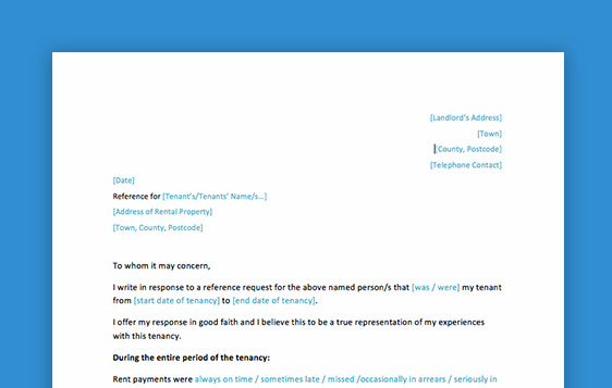 TechTalk Landlord reference letter - Free Microsoft Office template