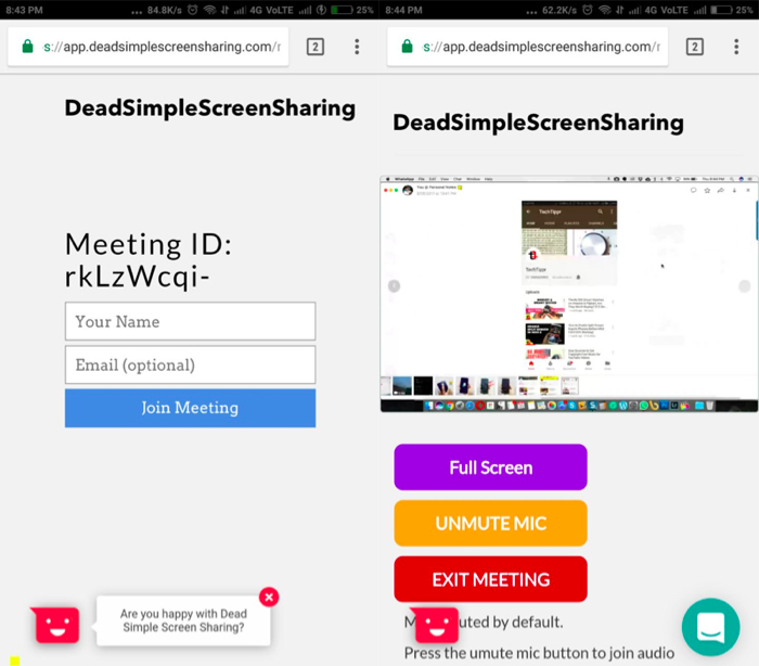Quickly Share Your Screen for Conferencing or Troubleshooting right