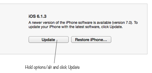 click update Download the Latest iOS 7 update and Install it Manually on your iPhone/iPad