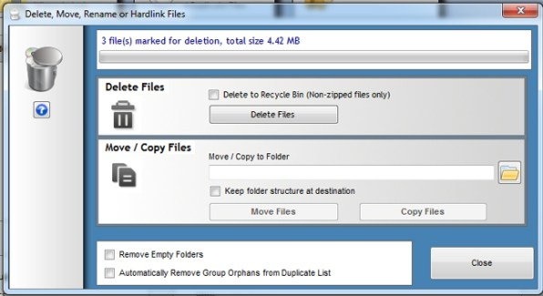 delete duplicate files individuallly