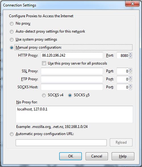 Firefox proxy server settings
