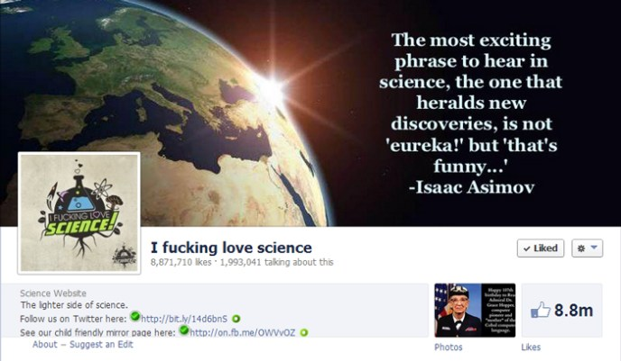 i fucking love science facebook page Top 10 Popular Pages to Follow on Facebook