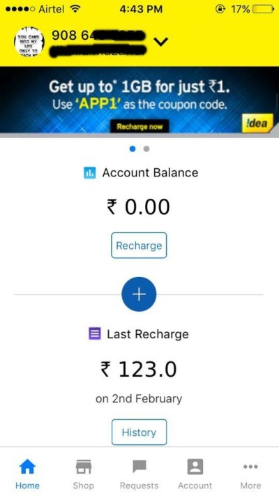 Offer displaying 1GB 3G Data at R.s 1 in the app's homepage