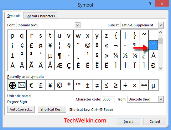 Type ° Degree Symbol in MS Word, HTML, Unicode - degrees in microsoft word
