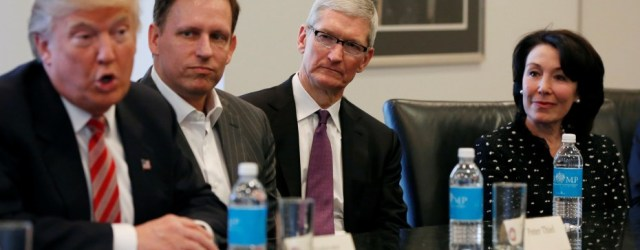 U.S. President-elect Donald Trump speaks as PayPal co-founder and Facebook board member Peter Thiel, Apple Inc CEO Tim Cook and Oracle CEO Safra Catz look on during a meeting with technology leaders at Trump Tower in New York